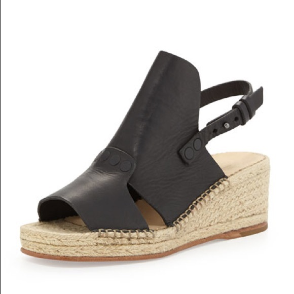 Rag Bone Sayre Ii Leather Espadrille Wedge Black